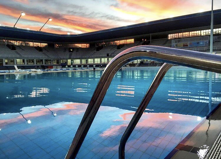 outdoor pool at sunrise
